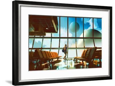 Young Girl Walking in Airport Looking Planets through Window,Illustration Painting-Tithi Luadthong-Framed Art Print