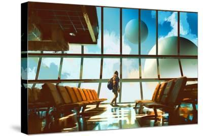 Young Girl Walking in Airport Looking Planets through Window,Illustration Painting-Tithi Luadthong-Stretched Canvas Print