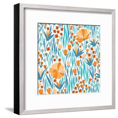 Summer Flower Pattern-Maria_Galybina-Framed Art Print