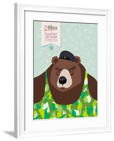 23 February. Bear with Cap. the Vintage Backgrounds. Text in Russian. Congratulations To. Day of De-Top Vector Studio-Framed Art Print