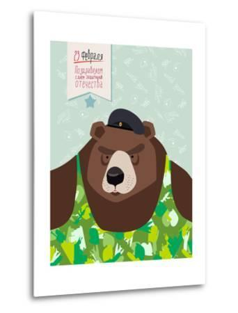 23 February. Bear with Cap. the Vintage Backgrounds. Text in Russian. Congratulations To. Day of De-Top Vector Studio-Metal Print