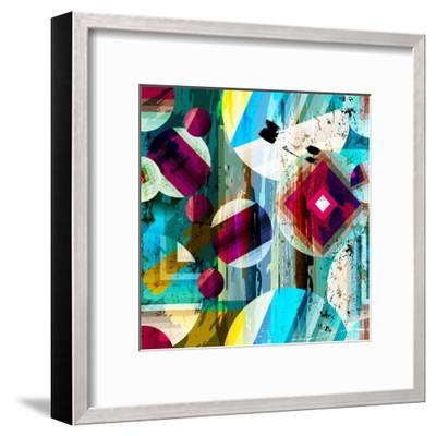 Abstract Geometric Pattern Background, with Circles, Strokes and Splashes, Seamless-Kirsten Hinte-Framed Art Print