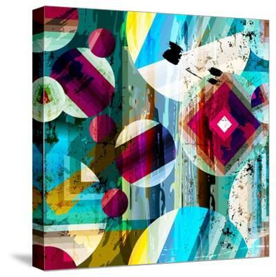Abstract Geometric Pattern Background, with Circles, Strokes and Splashes, Seamless-Kirsten Hinte-Stretched Canvas Print