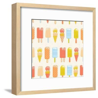 Ice Cream Background. Seamless Pattern. Summer Background. Hipster Illustration. Summer Print. Vect-adehoidar-Framed Art Print