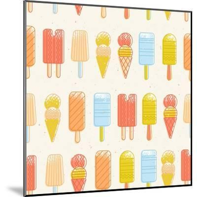 Ice Cream Background. Seamless Pattern. Summer Background. Hipster Illustration. Summer Print. Vect-adehoidar-Mounted Art Print