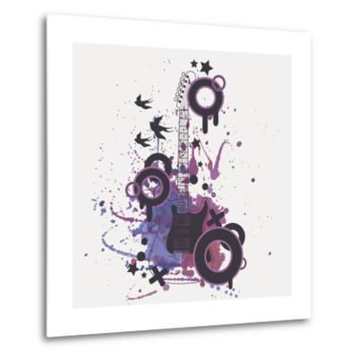 Vector Illustration of Electric Guitar with Watercolor Splash, Birds, Circles and Stars-Eireen Z-Metal Print