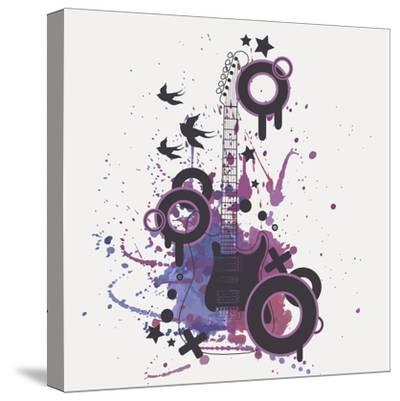 Vector Illustration of Electric Guitar with Watercolor Splash, Birds, Circles and Stars-Eireen Z-Stretched Canvas Print