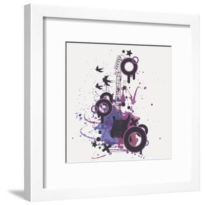 Vector Illustration of Electric Guitar with Watercolor Splash, Birds, Circles and Stars-Eireen Z-Framed Art Print
