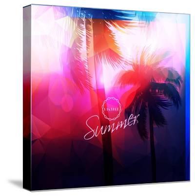 Paradise Island-Palm Tree Sunset- AlessandraM-Stretched Canvas Print