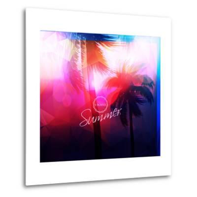 Paradise Island-Palm Tree Sunset- AlessandraM-Metal Print
