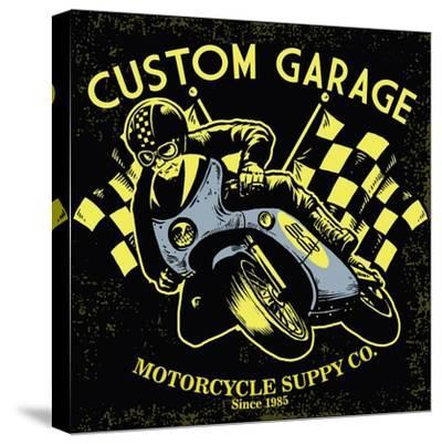 Retro Motorcycle Race- bazzier-Stretched Canvas Print