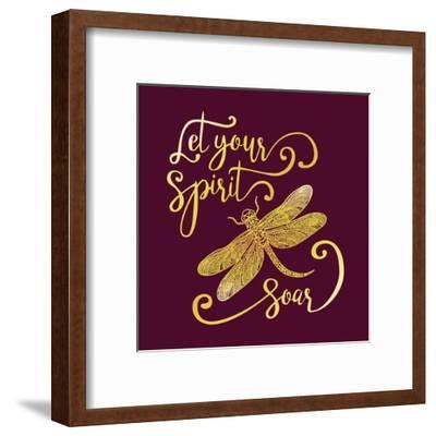 Let Your Spirit Soar. Hand Drawn Lettering with a Dragonfly. Modern Brush Calligraphy.-Trigubova Irina-Framed Art Print