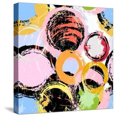 Seamless Background Pattern, with Circles, Paint Strokes and Splashes-Kirsten Hinte-Stretched Canvas Print