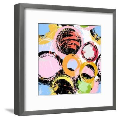 Seamless Background Pattern, with Circles, Paint Strokes and Splashes-Kirsten Hinte-Framed Art Print