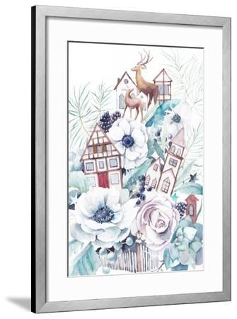Watercolor Winter Fairytale Illustration. Hand Painted Bouquet with Old Houses, Deers, Anemone Flow-Eisfrei-Framed Art Print