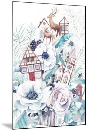 Watercolor Winter Fairytale Illustration. Hand Painted Bouquet with Old Houses, Deers, Anemone Flow-Eisfrei-Mounted Art Print