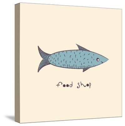 Fish a Freehand Drawing Logo Store Food-Natali Li-Stretched Canvas Print