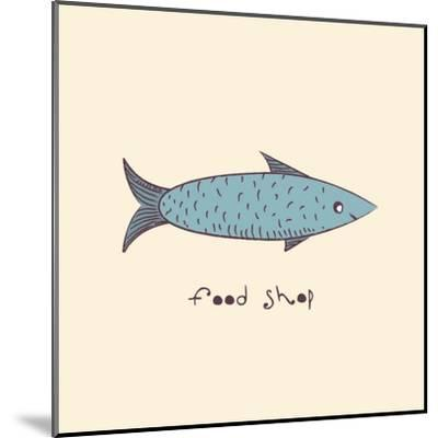 Fish a Freehand Drawing Logo Store Food-Natali Li-Mounted Art Print