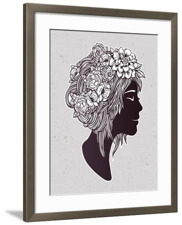 Hand Drawn Beautiful Artwork of a Girl Head with Decorative Hair and Romantic Flowers on Her Head.-Katja Gerasimova-Framed Art Print