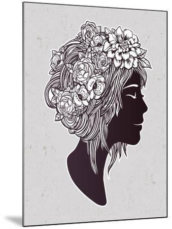 Hand Drawn Beautiful Artwork of a Girl Head with Decorative Hair and Romantic Flowers on Her Head.-Katja Gerasimova-Mounted Art Print