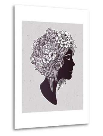 Hand Drawn Beautiful Artwork of a Girl Head with Decorative Hair and Romantic Flowers on Her Head.-Katja Gerasimova-Metal Print