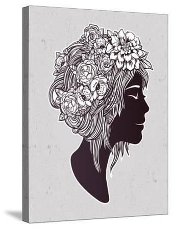 Hand Drawn Beautiful Artwork of a Girl Head with Decorative Hair and Romantic Flowers on Her Head.-Katja Gerasimova-Stretched Canvas Print