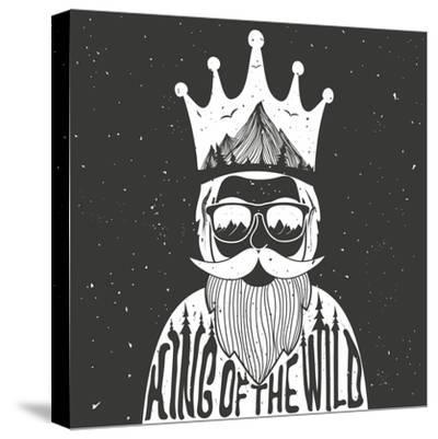 Vector Hand Drawn Style Typography Poster. A Man with Crown, Mountains and Trees Inside. King of Th- julymilks-Stretched Canvas Print