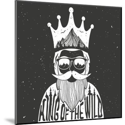 Vector Hand Drawn Style Typography Poster. A Man with Crown, Mountains and Trees Inside. King of Th- julymilks-Mounted Art Print