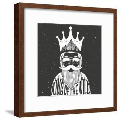 Vector Hand Drawn Style Typography Poster. A Man with Crown, Mountains and Trees Inside. King of Th- julymilks-Framed Art Print