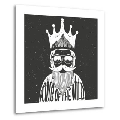 Vector Hand Drawn Style Typography Poster. A Man with Crown, Mountains and Trees Inside. King of Th- julymilks-Metal Print