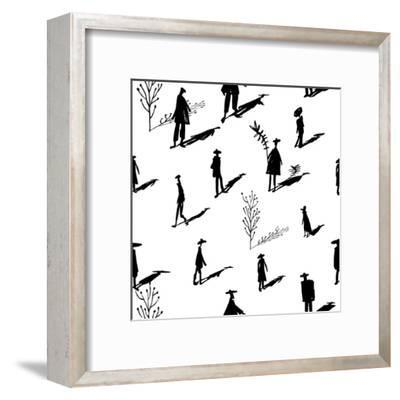 Seamless Pattern of Trees and People Silhouettes with Shadows Hand-Drawn Ink. Art Retro Background- Yurta-Framed Art Print