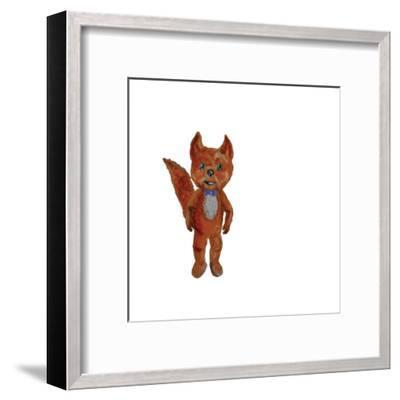 Cartoon Fox Hand Painted Watercolor Illustration Isolated on White Background-ramiia-Framed Art Print