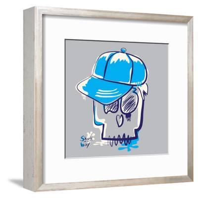 Skull Boy Illustration, Typography, T-Shirt Graphics- Syquallo-Framed Art Print
