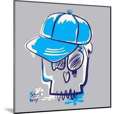 Skull Boy Illustration, Typography, T-Shirt Graphics- Syquallo-Mounted Art Print