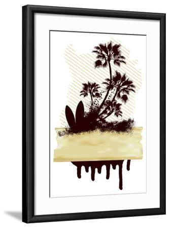 Surf Grunge Dirty Scene with Palms and Table- locote-Framed Art Print