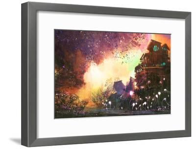 Fantasy Landscape with Ancient Castle,Digital Painting,Illustration-Tithi Luadthong-Framed Art Print