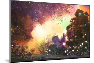 Fantasy Landscape with Ancient Castle,Digital Painting,Illustration-Tithi Luadthong-Mounted Art Print