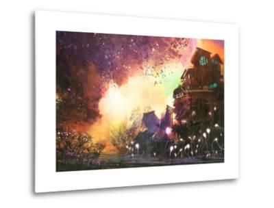 Fantasy Landscape with Ancient Castle,Digital Painting,Illustration-Tithi Luadthong-Metal Print