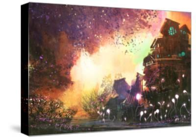 Fantasy Landscape with Ancient Castle,Digital Painting,Illustration-Tithi Luadthong-Stretched Canvas Print