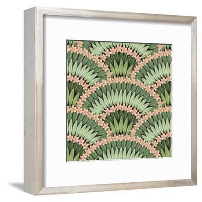 Vector Seamless Pattern of Hand Drawn Tropical Pink Flowers and Green Leaves on a Black Background-L Kramer-Framed Art Print