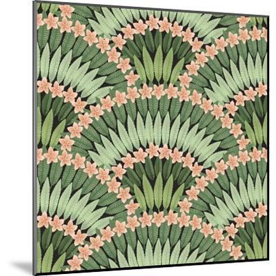 Vector Seamless Pattern of Hand Drawn Tropical Pink Flowers and Green Leaves on a Black Background-L Kramer-Mounted Art Print
