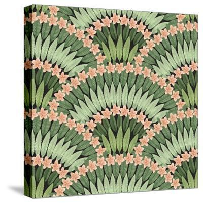 Vector Seamless Pattern of Hand Drawn Tropical Pink Flowers and Green Leaves on a Black Background-L Kramer-Stretched Canvas Print
