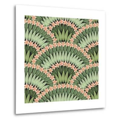 Vector Seamless Pattern of Hand Drawn Tropical Pink Flowers and Green Leaves on a Black Background-L Kramer-Metal Print