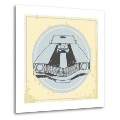 Vector American Muscle Car. Retro Car. Hand Drawn Car- RonAleksandra-Metal Print