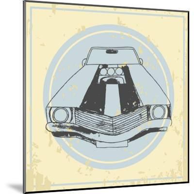 Vector American Muscle Car. Retro Car. Hand Drawn Car- RonAleksandra-Mounted Art Print