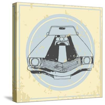 Vector American Muscle Car. Retro Car. Hand Drawn Car- RonAleksandra-Stretched Canvas Print