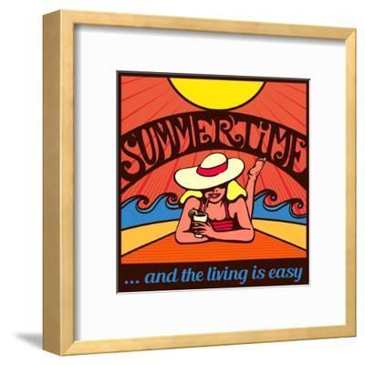 Summertime! Blond Relaxed Girl Sunbathing on a Beach with Waves and Blazing Sun, Vector Poster Desi-durantelallera-Framed Art Print
