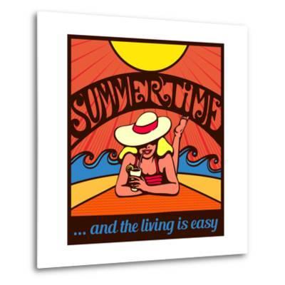 Summertime! Blond Relaxed Girl Sunbathing on a Beach with Waves and Blazing Sun, Vector Poster Desi-durantelallera-Metal Print