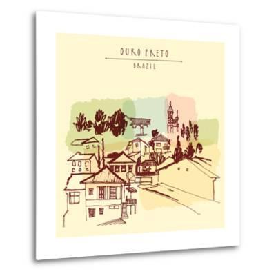 Ouro Preto, Minas Gerais, Brazil. Colorful Vintage Hand Drawn Postcard or Poster in Vector-babayuka-Metal Print