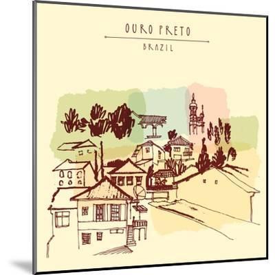 Ouro Preto, Minas Gerais, Brazil. Colorful Vintage Hand Drawn Postcard or Poster in Vector-babayuka-Mounted Art Print